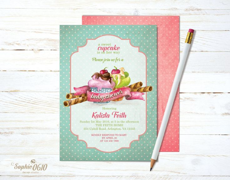 If you like vintage style then this is your kind of birthday invite! Printable watercolor baby shower invitation, cupcake and polka dots baby shower invite, digital files by Sophie0610Designs on Etsy CHECK the link for more www.sophie061designs.etsy.com