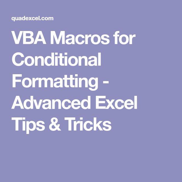 VBA Macros for Conditional Formatting - Advanced Excel Tips & Tricks