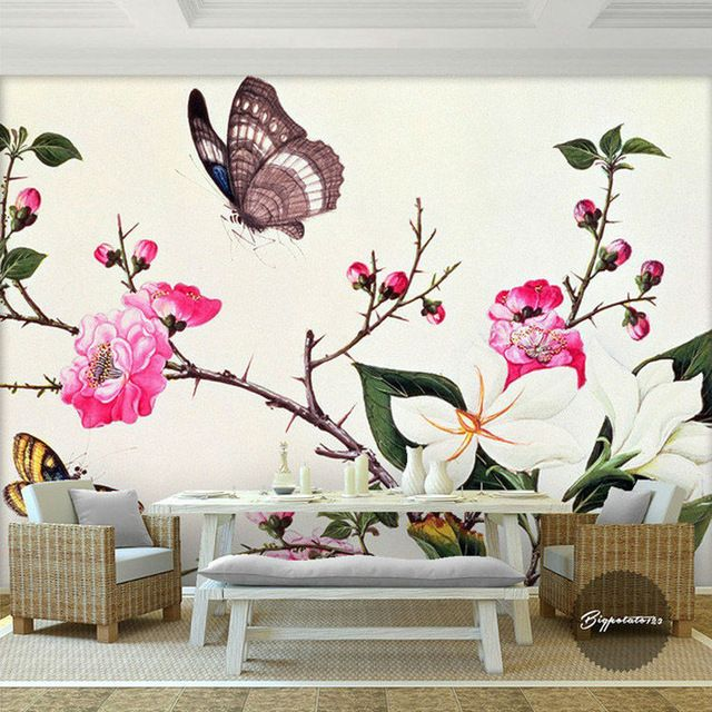Custom 3d wall murals flower butterfly photo wallpaper - Flower wallpaper mural ...