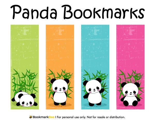 Free printable panda bookmarks. Download the PDF template at http://bookmarkbee.com/bookmark/panda/