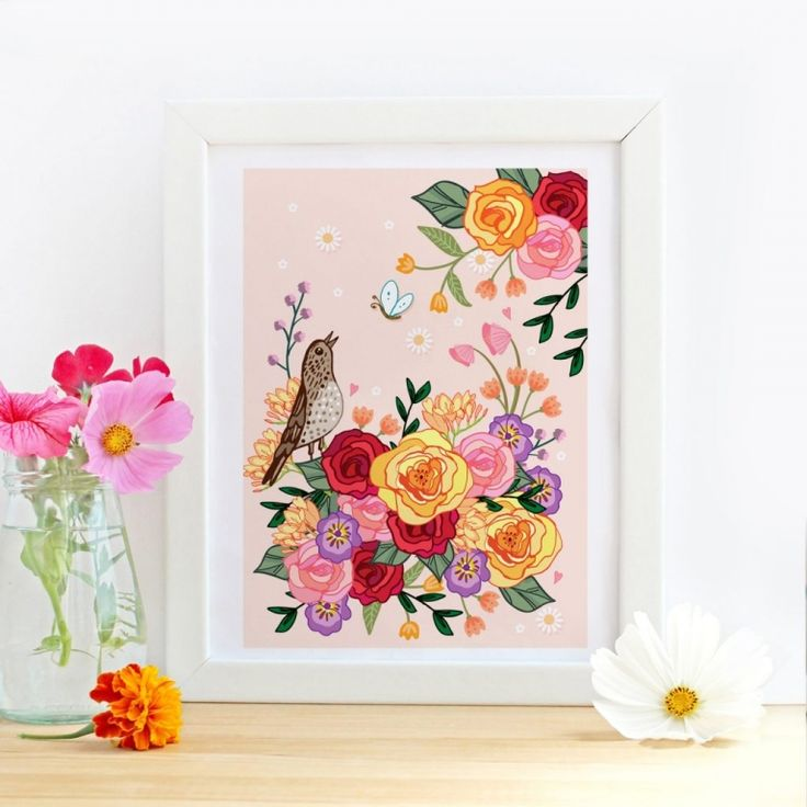 Song Thrush in the Roses Whimsical Wall Art Print by Angie Spurgeon #wallart #florals #artprint #giftideas #gifts
