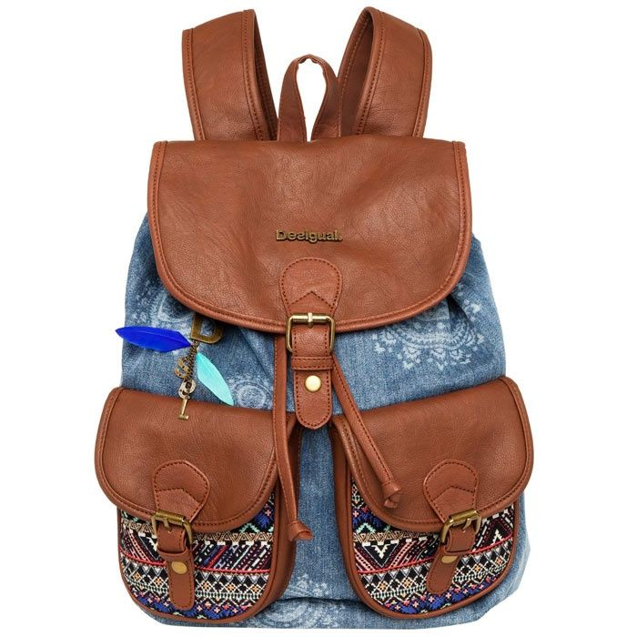 vente de sac dos femme art dakar african bleu denim desigual acheter sac dos 1. Black Bedroom Furniture Sets. Home Design Ideas