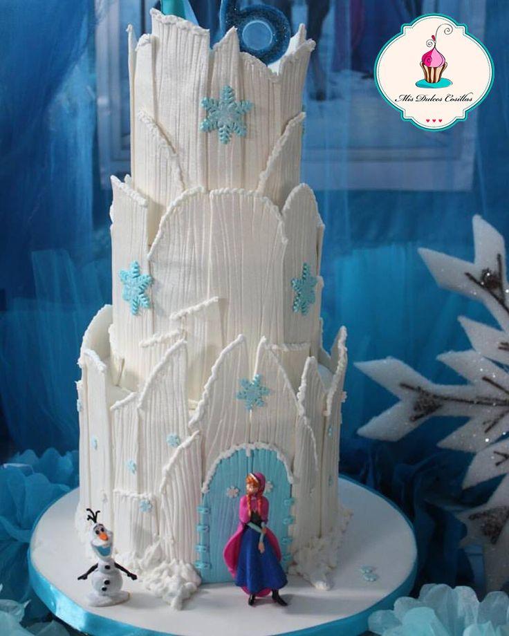 Tarta fondant de cumpleaños Frozen, tarta castillo Frozen