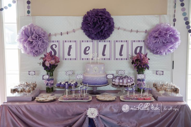 Purple And White Theme 1st Birthday Party Pinterest