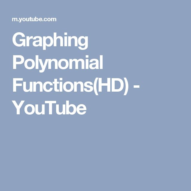 Graphing Polynomial Functions(HD) - YouTube