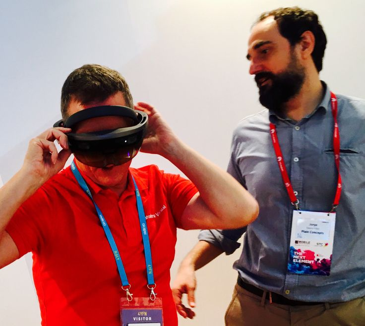 #VR #HOLOLENS · Getting holographic at the Microsoft #4YFN stand with Hololens & Jorge of Plain Concepts. · MWC2017 · Hololens is part of our #VR strategy. goo.gl/As6KVN
