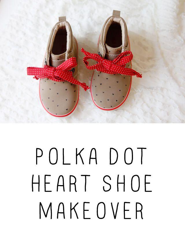 #Polkadot #hartjes!  Hoe schattig zijn deze #schoentjes?  Heel eenvoudig zelf te maken, instructie in het Engels.