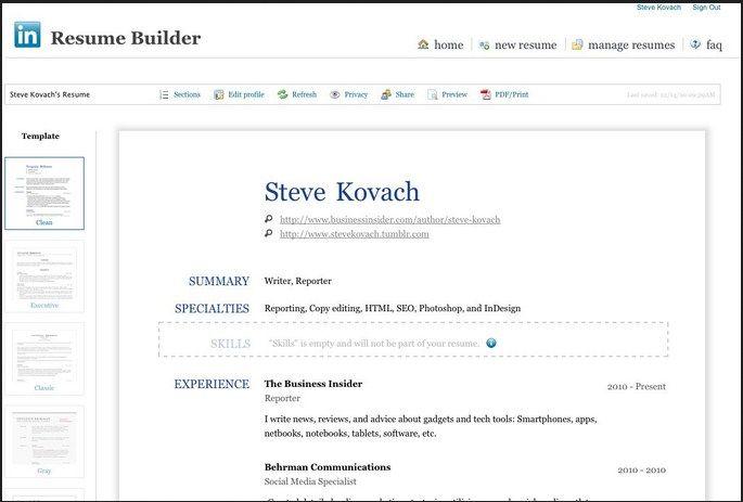 Microsoft resume helper