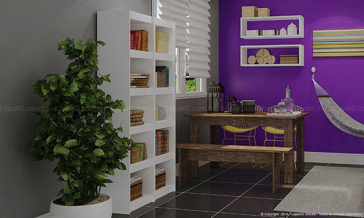 Conjunto para Sala de Estar Integrada com Jantar com Mesa, Banco, Estante e Nichos Rústico/Carvalho/Cromado/Amarelo/Branco - Caaza   Lojas KD