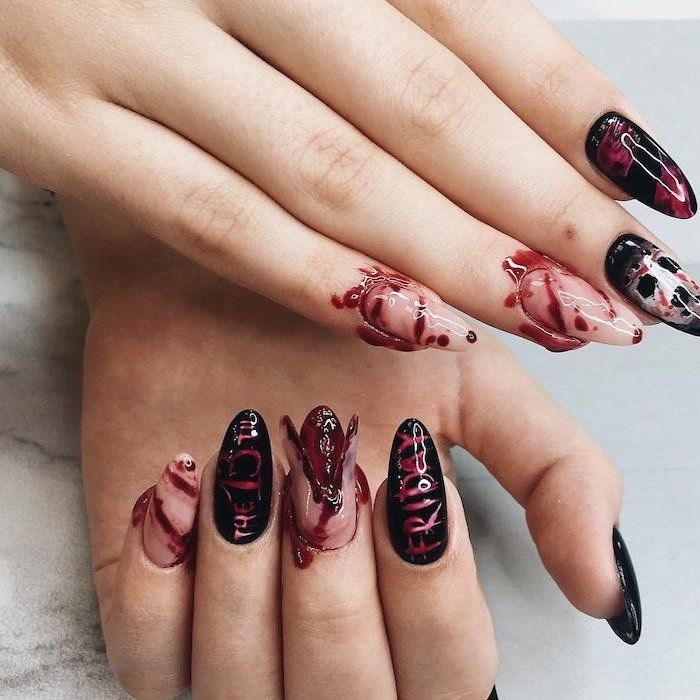 100 Halloween Manicures You Need To See And Try Halloween Nails Halloween Nail Colors Halloween Nail Designs