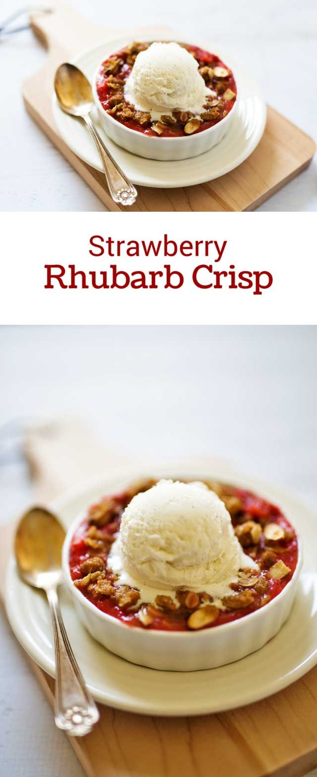 Tart rhubarb combined with sweet, ripe strawberries topped with a ...