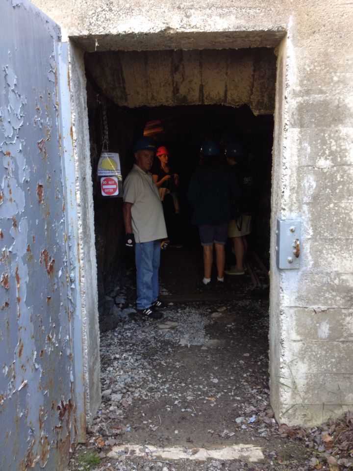 Entering the adit on the Cobalt Mining Museum tour.