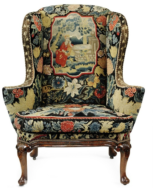 From the Christies catalog: A GEORGE I WALNUT WING ARMCHAIR CIRCA 1720