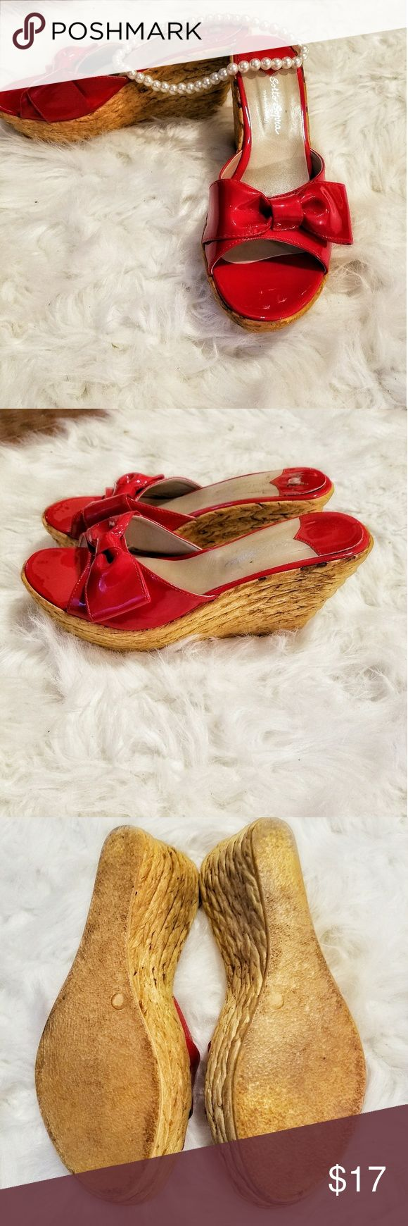 Sotto  Sopra red wicket wedges size 7 Good condition sotto sopra Shoes Wedges