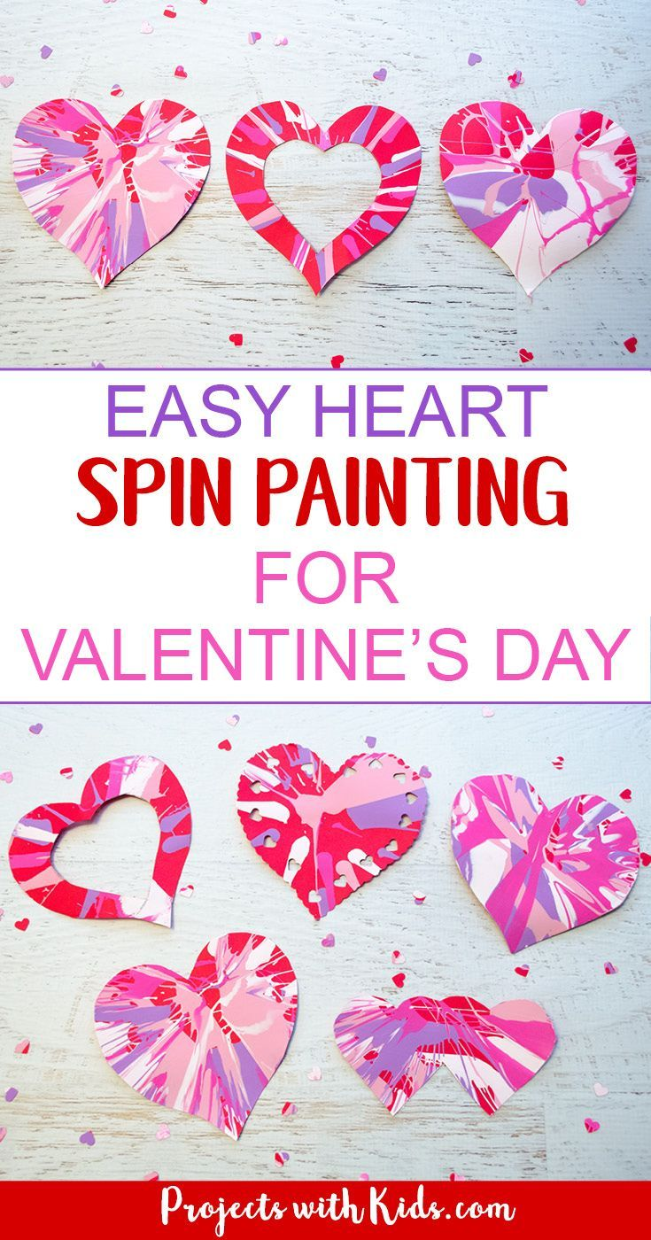 1ae2dbac544b267fd48d2069c57dc2c6 - Spin painting hearts make the perfect Valentine's Day art project for kids. Kids...