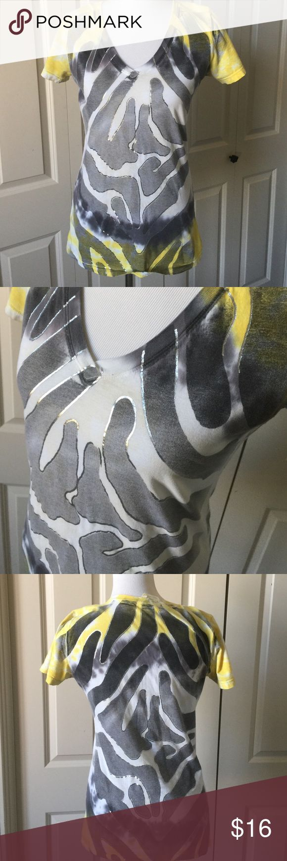 Yellow, Grey & Silver Tee V-neck Tee. 100% cotton Sugar & Rox Tops Tees - Short Sleeve