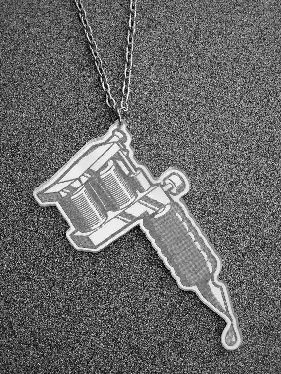 Silver Tattoo Machine Necklace by Ink & Roses 13