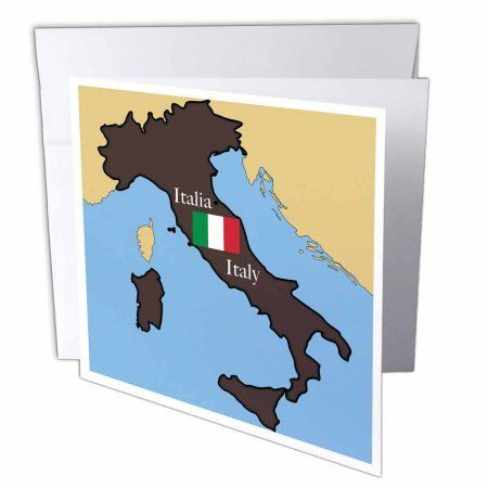 3dRose The map and flag of Italy with Italy printed in English and Italian., Greeting Cards, 6 x 6 inches, set of 12