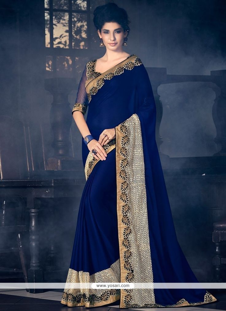 Snazzy Faux Chiffon Navy Blue Patch Border Work Designer Saree Model: YOSAR11766