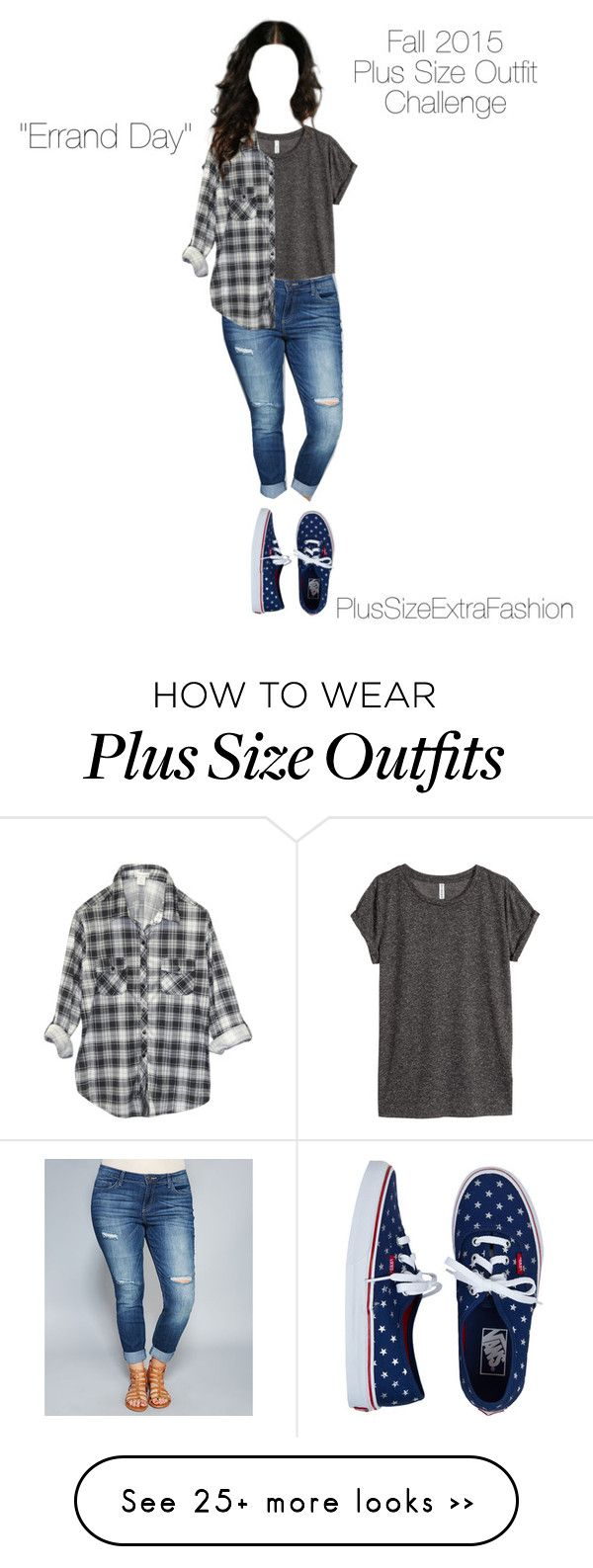 """Fall 2015 Plus Size Minimalist Challenge #9: Errand Day"" by plussizeextrafashion on Polyvore featuring H&M, Wet Seal, Vans, minimalism, challenge, plussize, fall2015 and plussizeextrafashion"