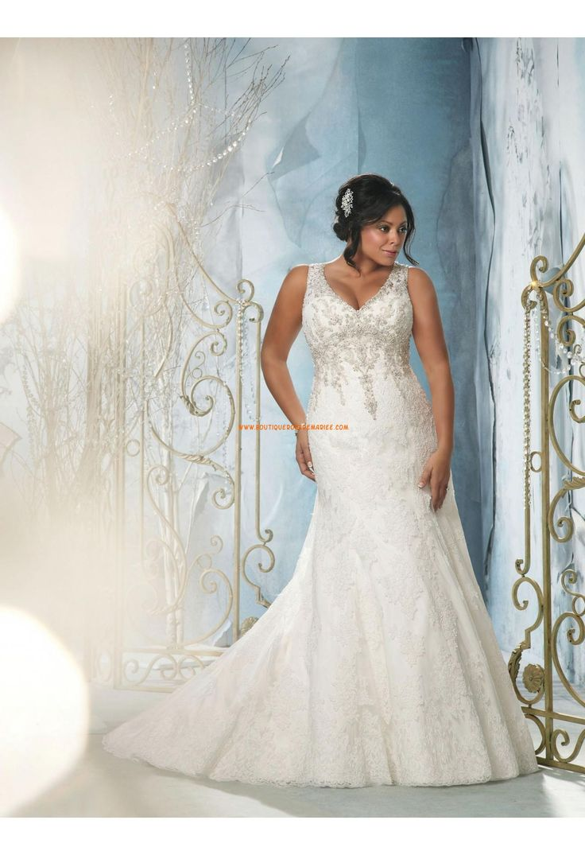 Robe de mariée grande taille dentelle perles col en V