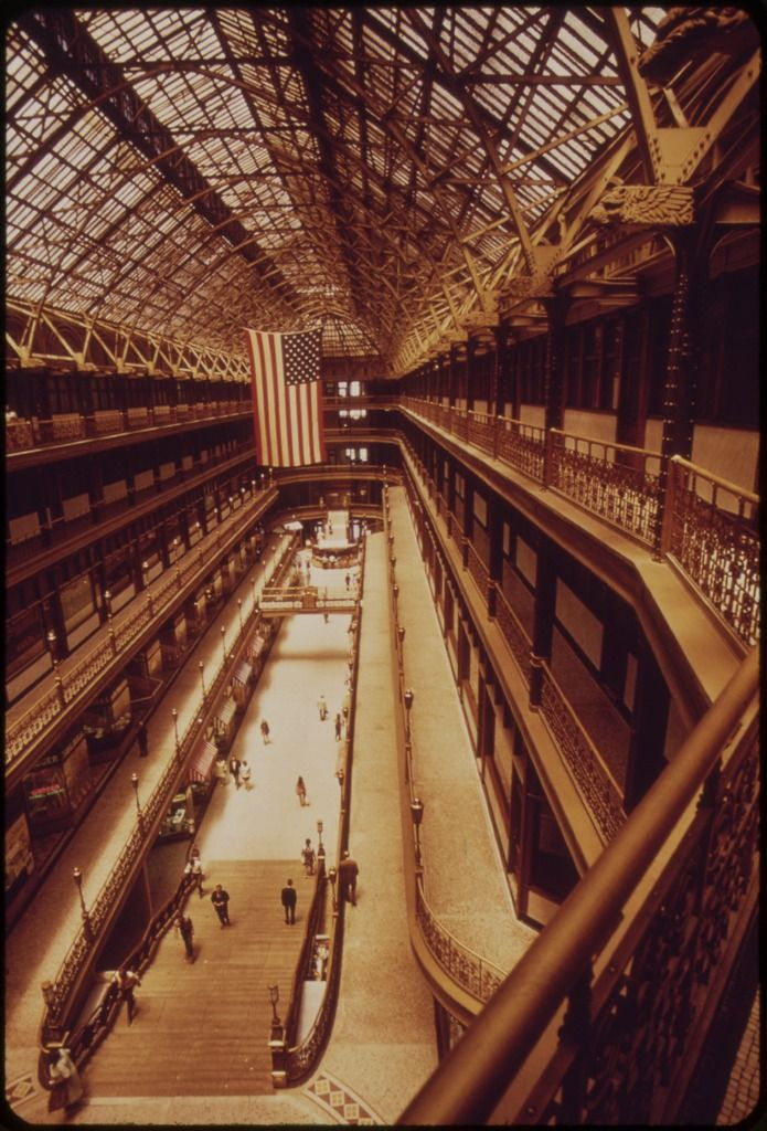 The Arcade -- enclosed shopping area in downtown Cleveland: photo by Frank John Aleksandrowicz for U.S. Environmental Protection Agency, June 1973 (National Archives and Records Administration)