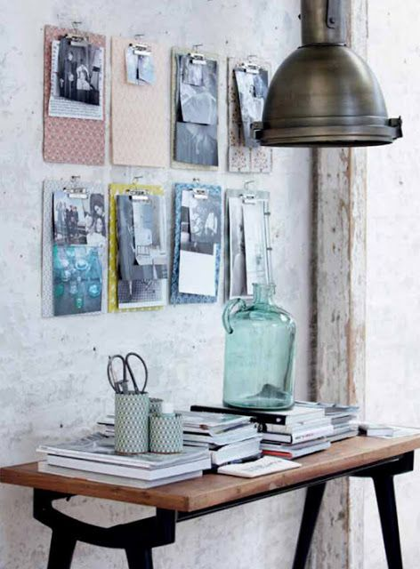 Workroom inspiration - diy clipboards on wall
