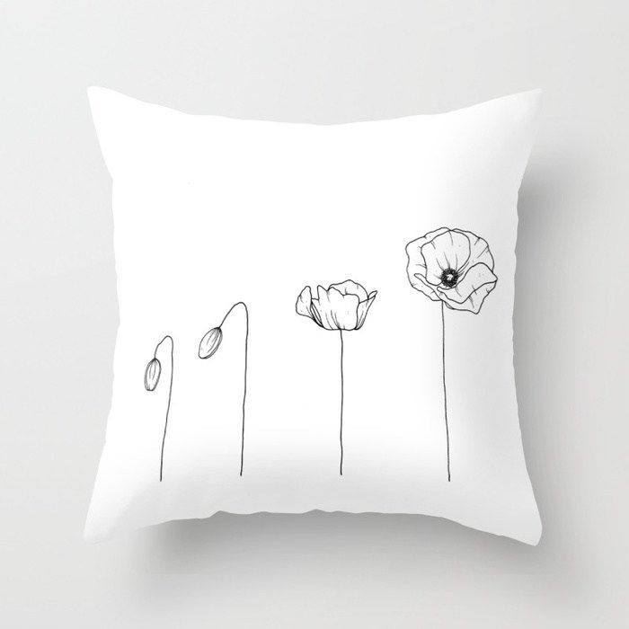 Poppy Flowering Phases Throw Pillow By Wildbloomart Worldwide Shipping Available At Society6 Com Wildflower Bouquet Bouquet Poppies Flower Drawing Pillows