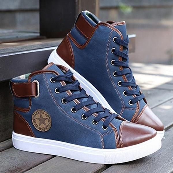 8e022f62cf1 Men's Shoes - Casual Autumn Winter Front Lace-Up Leather Canvas ...