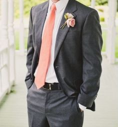 black tuxedo peach tie - Google Search