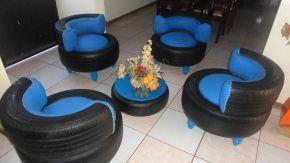 Transforma llantas usadas en muebles ecológicos