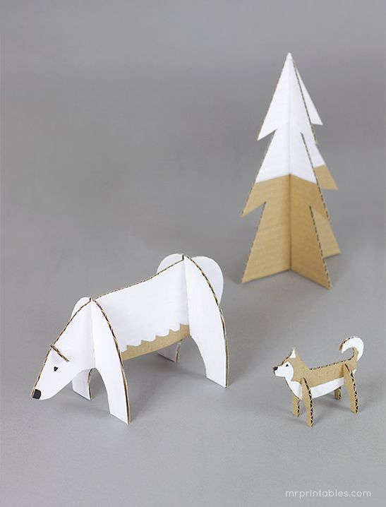 winter wonderland cardboard craft toys | free templates at mrprintables.com