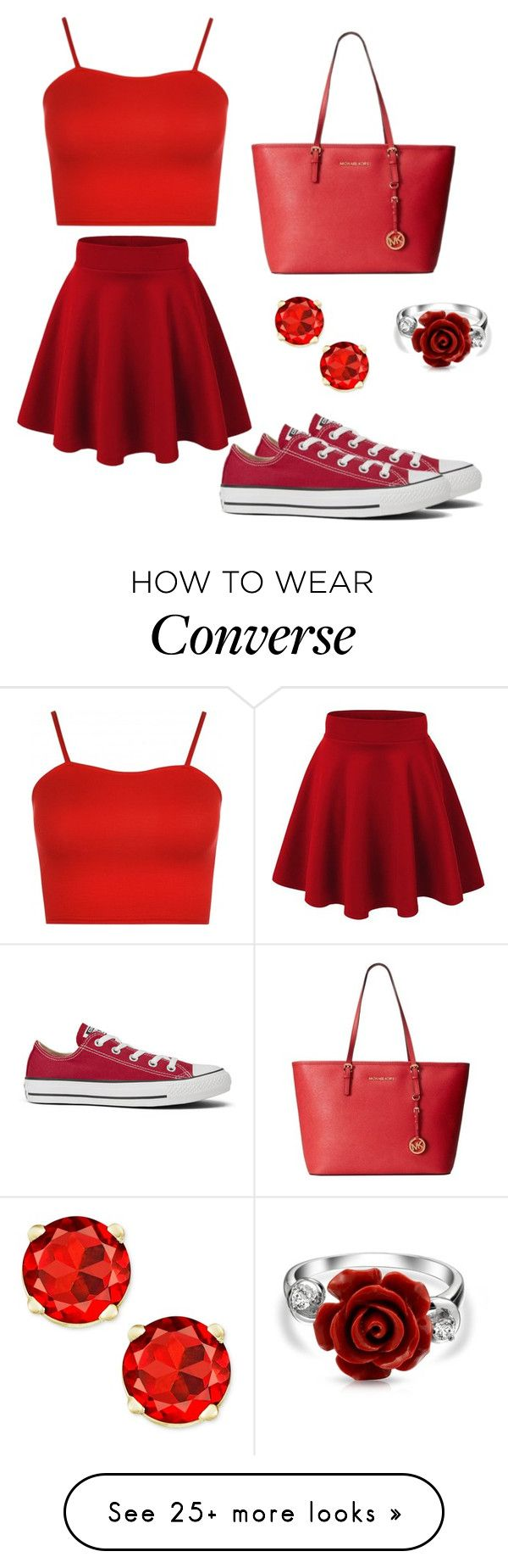 """Red Outfit"" by ninellaah on Polyvore featuring WearAll, Michael Kors, Converse and Bling Jewelry"