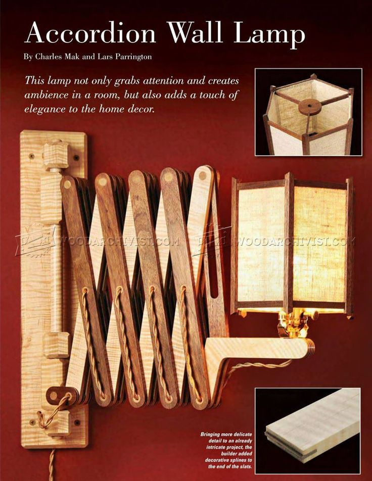 image of #911 Wooden Accordion Wall Lamp Plan