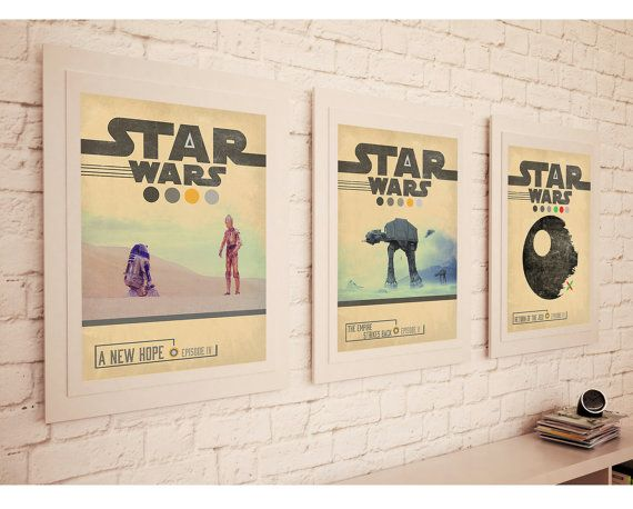 STAR WARS TRILOGY Episode 4 , 5 , 6 Movie Set Posters * Retro Vintage Minimal Design Wall Art Print* A3 A4 Sizes Available