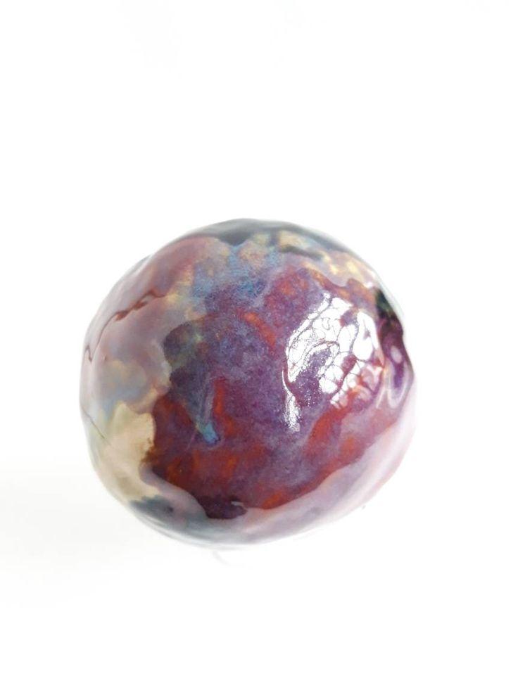 Galaxy ball, ceramic sphere, purple ball, garden orb