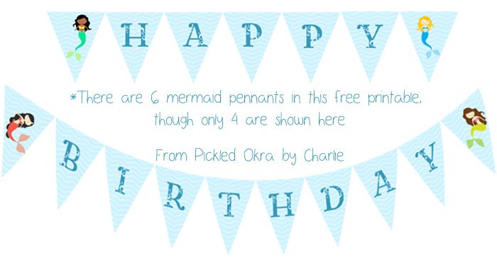 Pickled Okra by Charlie: Mermaid Pennant Banner, Free Printable