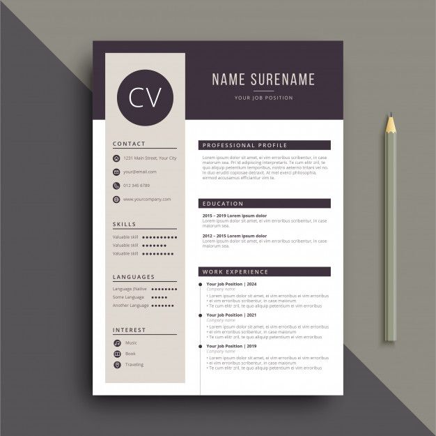 Clear And Professional Resume Cv Template With Images Cv