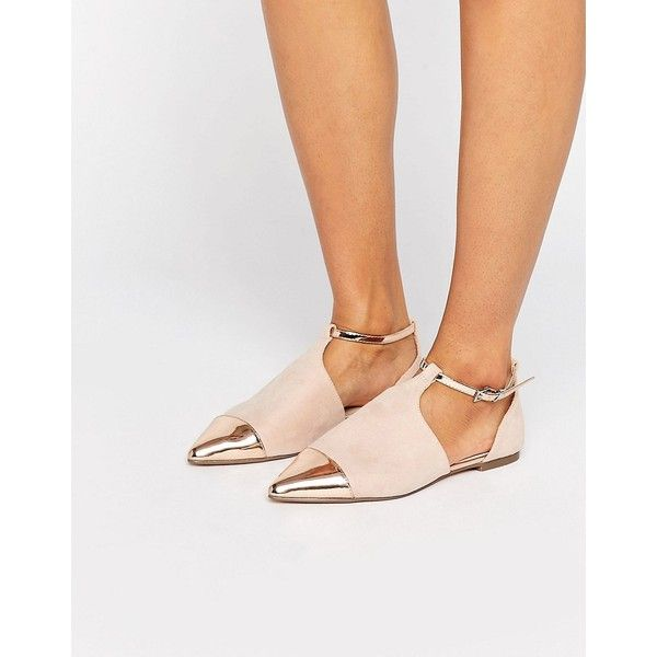 ASOS LEEDS Pointed Ballet Flats ($28) ❤ liked on Polyvore featuring shoes, flats, beige, ankle strap flats, ankle wrap ballet flats, t-strap flats, ballet flats and beige ballet flats