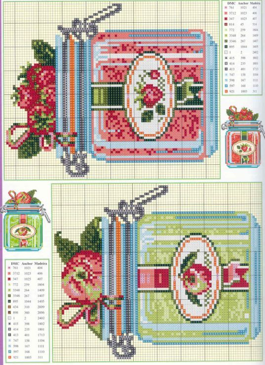 cross stitch jars- strawberry & apple