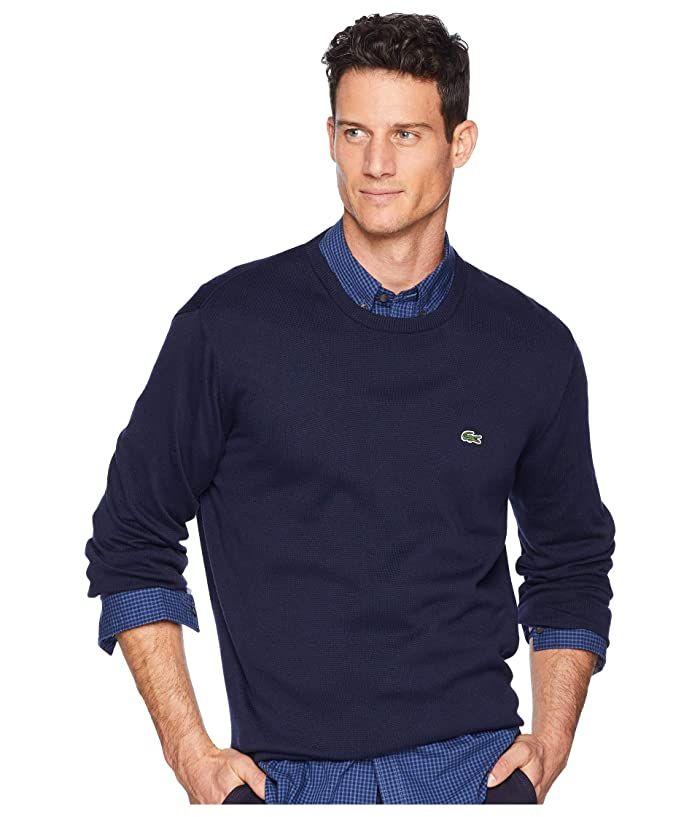 Lacoste Mens Long Sleeve Half Moon Crew Neck Jersey Sweater