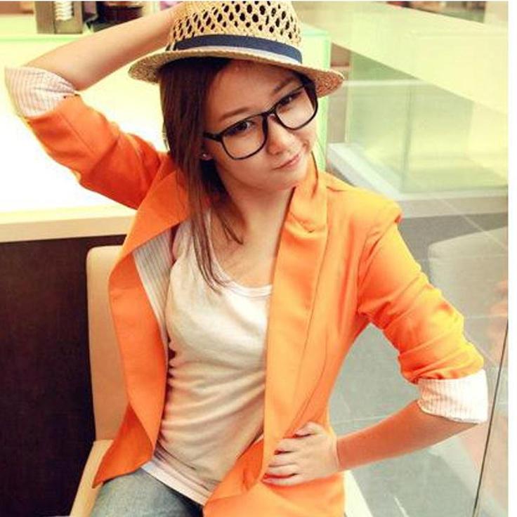 Orange Pull Sleeve Blazer
