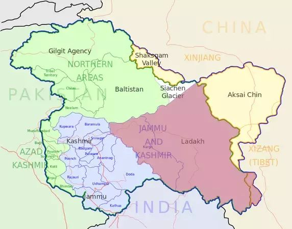 India has control of 60% of the area of the former Princely State of Jammu and Kashmir (Jammu, Kashmir Valley, andLadakh); Pakistan controls 30% of the region (Gilgit–Baltistan and Azad Kashmir). China occupied 10% (Aksai Chin and Trans-Karakoram Tract) of the state in 1962.