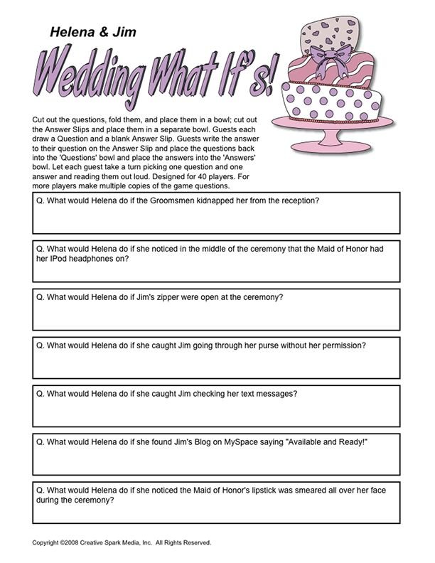 "Players fill out answers to different ""what if"" questions. The twist is that when a question is read, its answer will be a randomly chosen one. You just never know what answer might pair up with the question ""What would the Bride do if she caught the Groom checking her text messages?"" Maybe it was originally the answer to the question ""What would the Bride do if she found out the Groom had his best man write his wedding vows for him?"""