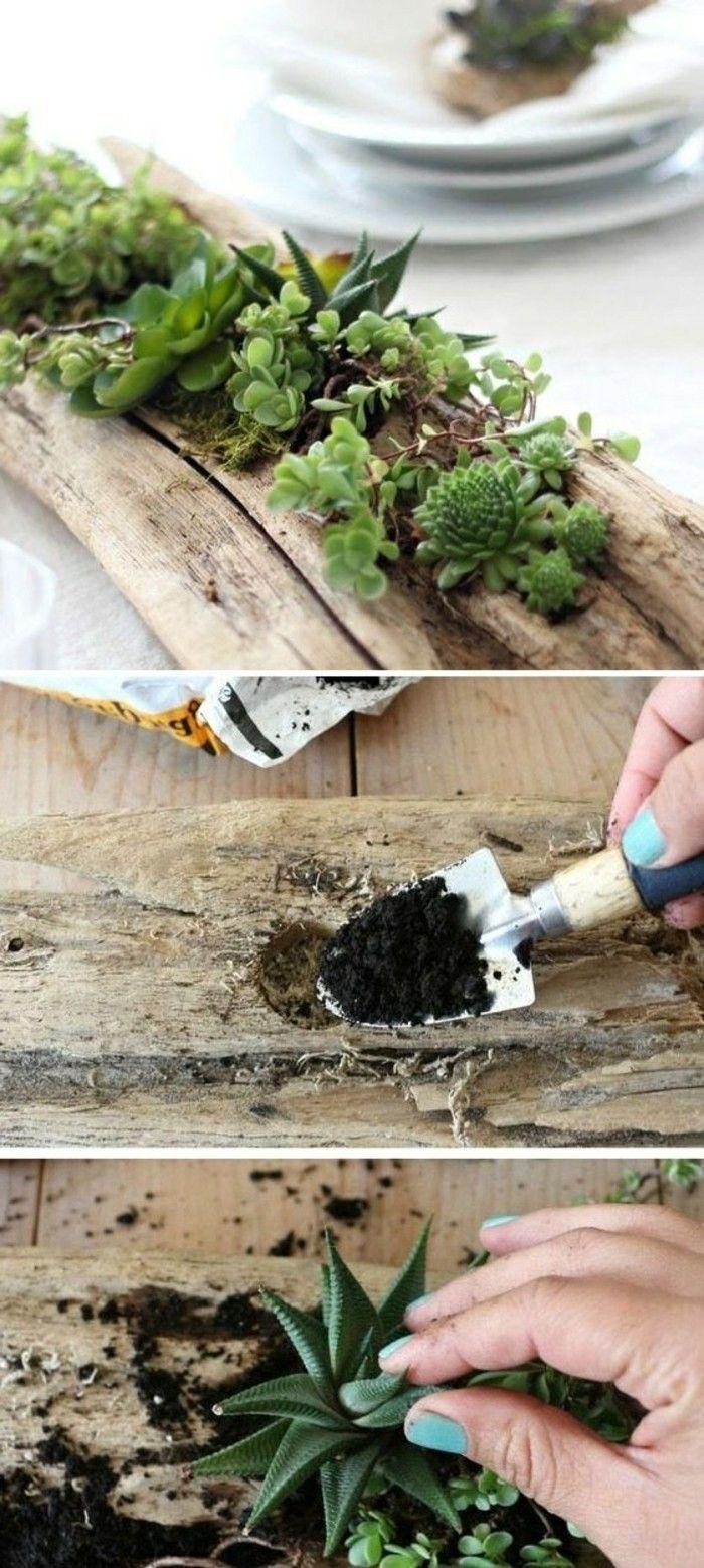 10 treibholz ast gruene pflanzen arm erde bleuer nagellack tischdeko diy