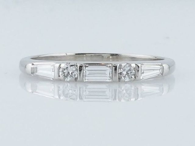 Vintage .61 cttw Baguette, Round Brilliant & Tapered Baguette Diamond Wedding Band in Platinum
