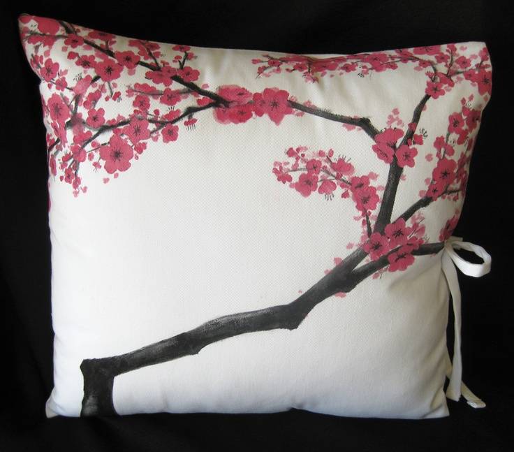 Cherry Blossom Pillow Cover. This awesome Asian inspired designer pillow makes a perfect accent & 80 best Hand Painted Fabrics images on Pinterest | Fabric painting ... pillowsntoast.com