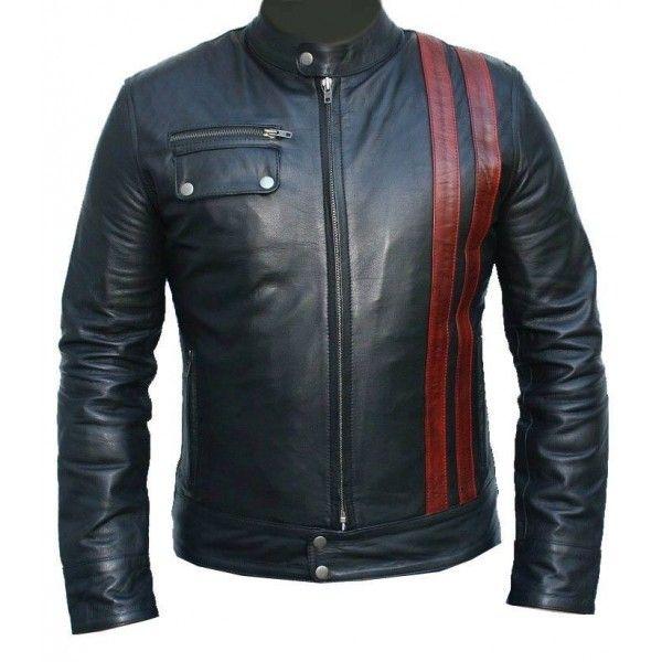 Black frontier Stripes Biker Leather Jacket