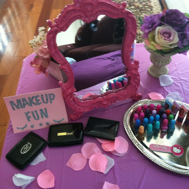 Makeup station for little girl spa party Spa Party