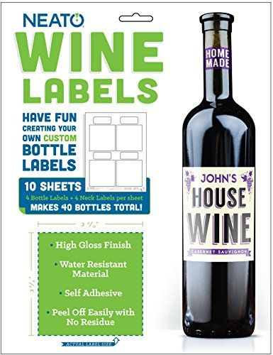 neato blank vinyl wine bottle labels and neck labels with
